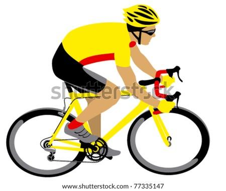 Vector racing cyclist - stock vector