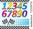 Vector racing theme design elements set.  Each on separate layers. contains checkered waving background, 2 and 3 row checkered lines, checkered numbers, crossed flags and speed square halftone. - stock photo