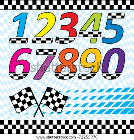 Vector racing theme design elements set.  Each on separate layers. contains checkered waving background, 2 and 3 row checkered lines, checkered numbers, crossed flags and speed square halftone. - stock vector