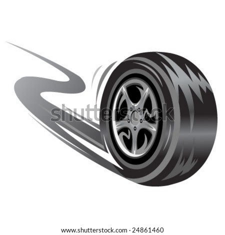 vector  racing wheel. Speed related illustration - stock vector
