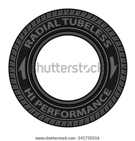 vector radial tubeless tyre - stock vector