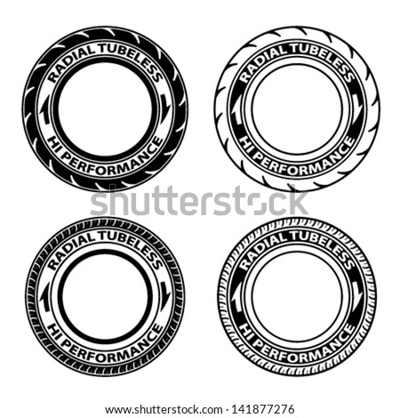 vector radial tubeless tyre symbols  - stock vector