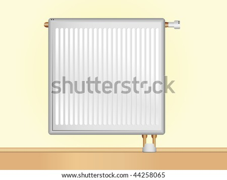 Vector Radiator on beige wall. Editable Vector Illustration - stock vector