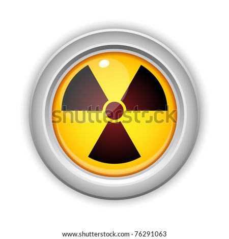 Vector - Radioactive Danger Yellow Button. Caution Radiation - stock vector