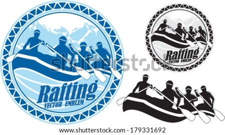 vector rafting emblem labels - stock vector