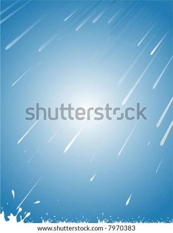 Vector rain falling diagonally from right to left, splashing. - stock vector