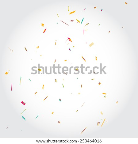 Vector rainbow background with colorful confetti. Can be used in wedding invitations, wrapping paper, birthday card, banners etc. - stock vector