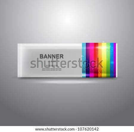 Vector rainbow bright colored transparent banner - stock vector