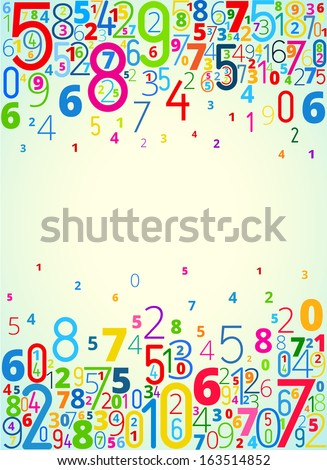Vector rainbow colored background  from numbers with copy space center - stock vector