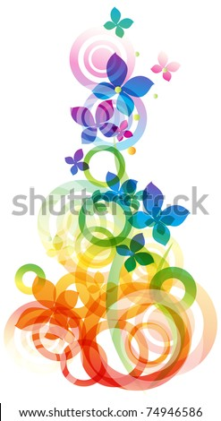 Vector rainbow colored background with flowers for design - stock vector