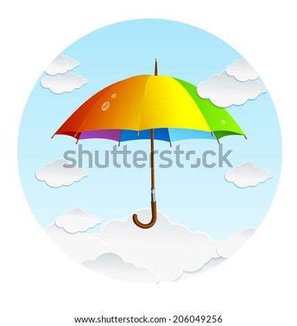 Vector rainbow umbrella and clouds icon. Background - stock vector