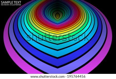 Vector rainbow vivid color background  reflected - Reflected circular rainbow background illustration - stock vector