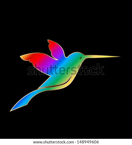 Vector rainbow with gold hummingbird background-vivid colors   - stock vector