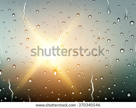 vector raindrops on glass - stock vector