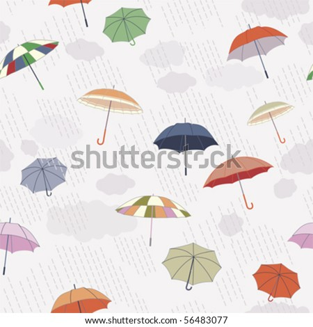 Vector: Rainy Day, Seamless Pattern