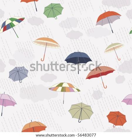 Vector: Rainy Day, Seamless Pattern - stock vector
