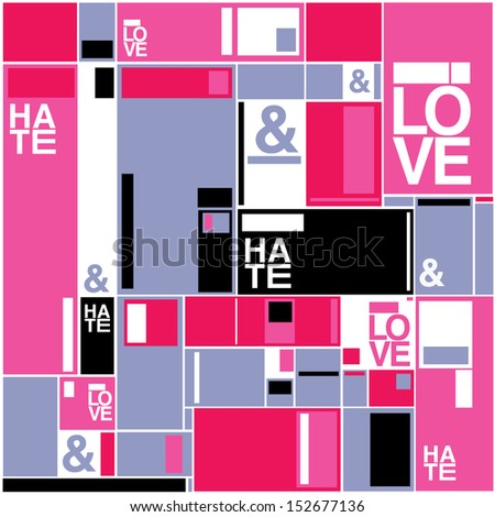vector random pink blocks pattern with text - stock vector