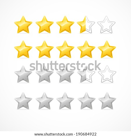 Vector Rating stars isolated on white background - stock vector