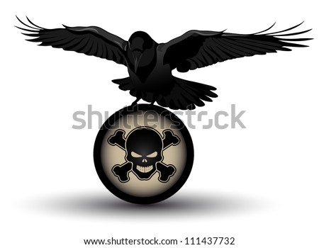 Vector raven on danger symbol - stock vector