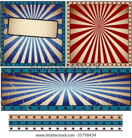 Vector rays retro banner - stock vector