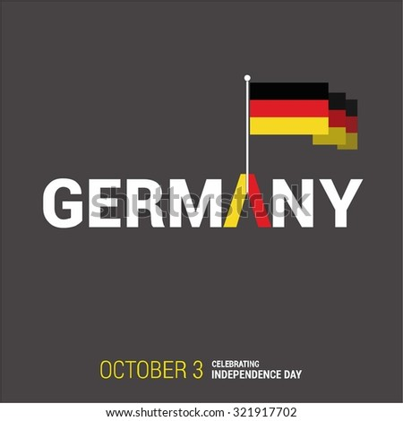 Vector 3rd October Germany Independence Day. Creative Country flag with Typography. Celebration Card. Illustration