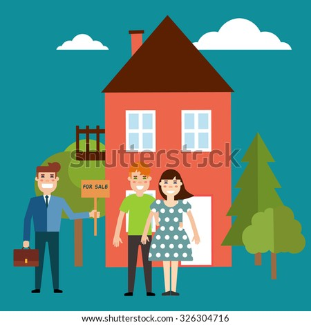 Vector real estate concept in flat style. Agent for the sale of real estate or a home buyer holding a portfolio and a sign saying the sale of real estate, take a young couple to buy or rent a house - stock vector