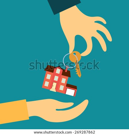 Vector real estate concept in flat style - hand real estate agent holding transmits a key with a tag in the form of a home buyer - stock vector