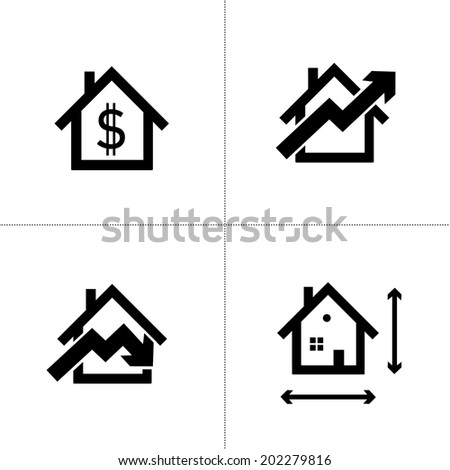 vector real estate home and house icons set | modern flat design black pictogram isolated on white background - stock vector