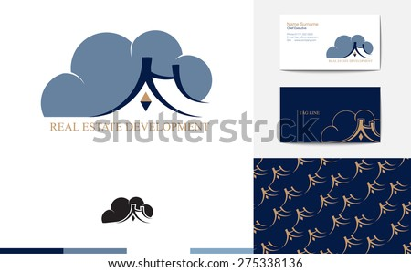 Vector : Real estate logo with business card and pattern,Branding identity concept - stock vector