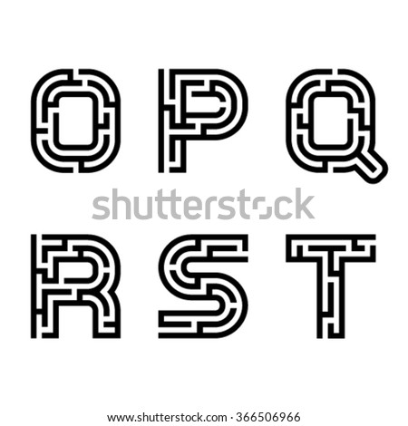 vector real maze alphabet font letters - part 3 - stock vector