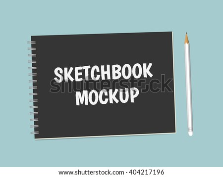 Vector Realistic Blank Sketchbook With Pencil. Spiral Notepad, Mock Up For Your Design - stock vector