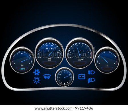 Vector realistic car dashboard, eps 10 - stock vector