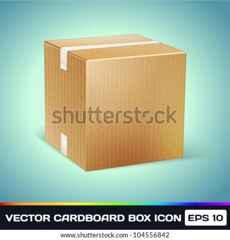 Vector Realistic Cardboard Box Icon - stock vector