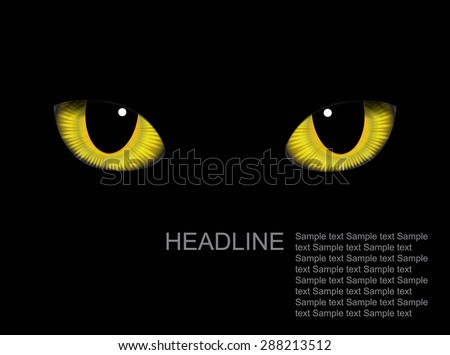 Vector realistic cat eyes on background - stock vector