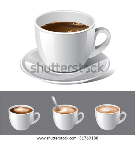 vector realistic coffee - espresso , cream , latte , cappuccino. There are VARIETY of tea things in my portfolio ;) Please, take a look ! - stock vector