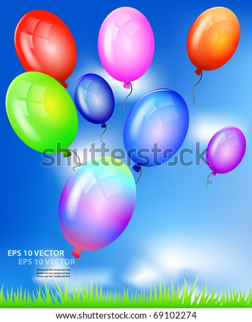 Vector realistic colorful balloons flying up against blue sky. - stock vector