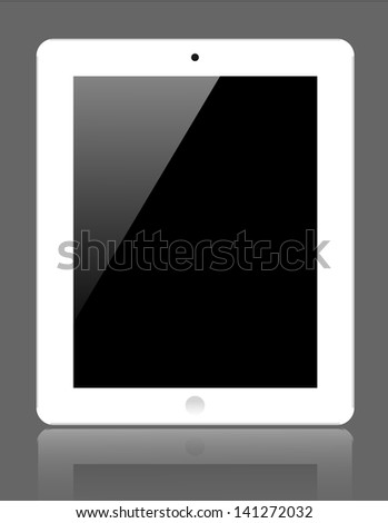 Vector realistic computer tablet on gray background. Eps10 - stock vector