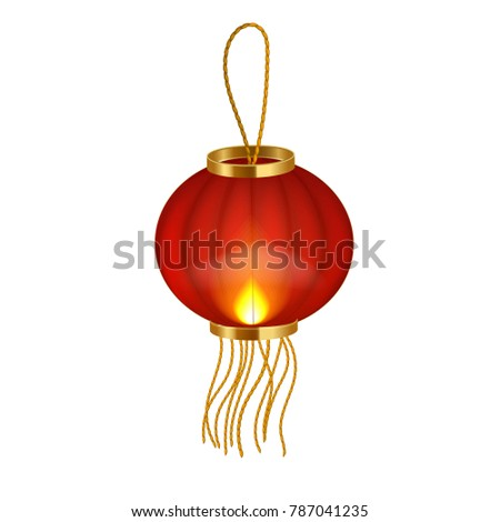 Vector realistic 3 d detailed chinese lantern stock vector 787041235 vector realistic 3d detailed chinese lantern flashlight chinese new year symbol elegant decorated with gold maxwellsz