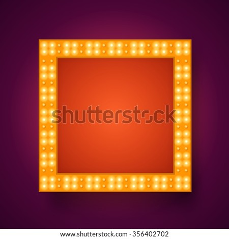 Vector realistic 3D light background.   Retro design element square frame glowing with lamps for your Template, Advertising, Promotions.  - stock vector