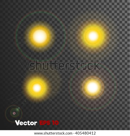 vector realistic 3d sun light flash, blick. Shiny floodlight explosion. Weather state, nature phenomenon objects on dark background Web design, decoration element. Banner, print, poster objects - stock vector