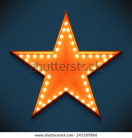 Vector realistic 3d volumetric icon on marquee sign pentagonal star lit up with electric bulbs | Retro looking presentation design element golden star symbol glowing with lamps  - stock vector