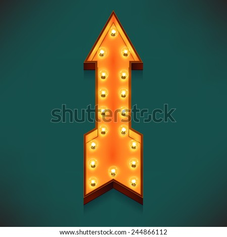 Vector realistic 3d volumetric icon on marquee symbol pointing straight up arrow lit up with electric bulbs | Retro looking wall decoration element 'to top' cursor glowing with lamps  - stock vector