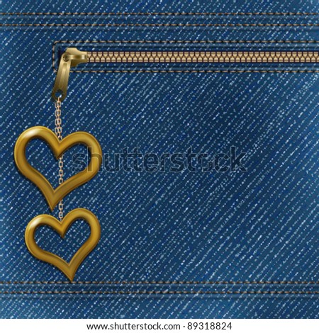 Vector realistic denim background with two metallic hearts - stock vector
