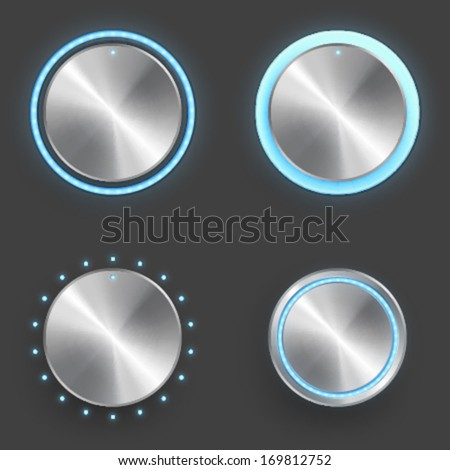 Vector realistic detailed knobs set with metal texture and blue light elements - stock vector