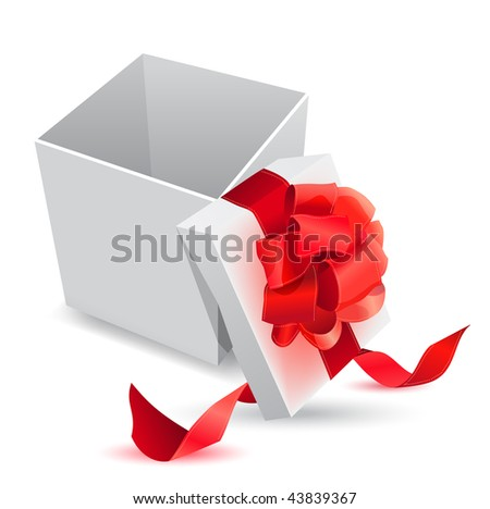 Vector realistic giftbox with bow - stock vector
