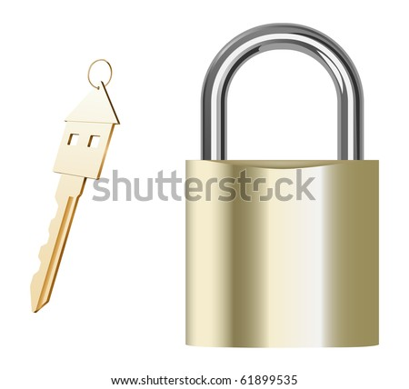 vector realistic golden padlock and key on white background