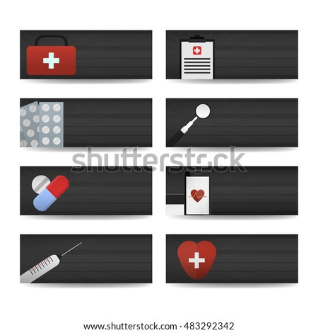 Vector realistic horizontal banners of medicine. Business mockup identity template. Concept of medical equipment, doctor profession, treatment, healthcare and clinic.