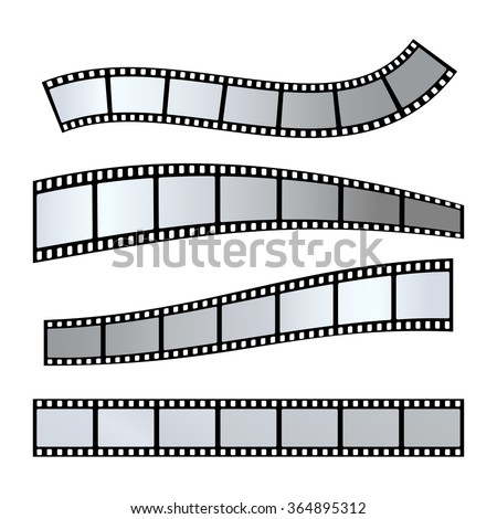 Vector realistic illustration of film strip on white background. Template film roll - stock vector