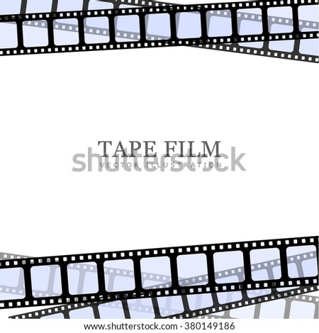 Vector realistic illustration of film strip on white background. Template film roll