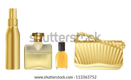 vector realistic illustration of girl accessories in golden color, raster version available - stock vector